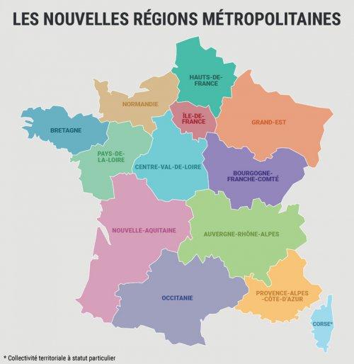 kaart frankrijk streken De kaart van bestuurlijk Frankrijk   Frankrijk in Nederland/ La