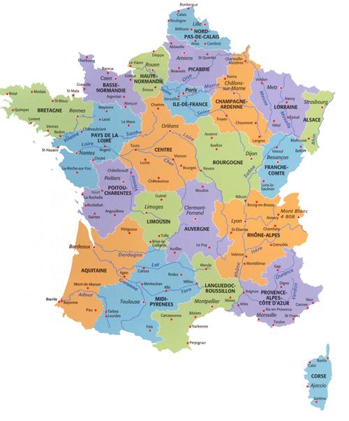 kaart frankrijk departementen De kaart van bestuurlijk Frankrijk   Frankrijk in Nederland/ La